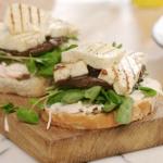 John Torode vegeterian burger with alumi cheese and mushrooms recipe on John and Lisa's Weekend Kitchen