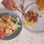 Phil Vickery summer salmon burgers with brioche buns and a watermelon, feta, walnut salad recipe on This Morning