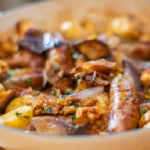 Lisa Faulkner sausage sourdough bake with new potatoes recipe on John and Lisa's Weekend Kitchen