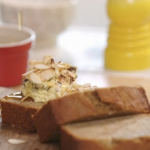 John Torode banana and coconut bread with maple syrup butter and cocoa nips recipe on John and Lisa's Weekend Kitchen