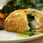 Catherine Tyldesley chicken kiev with sweet potato wedges and a chilli and garlic broccoli recipe on Lorraine