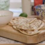 John Torode naan bread with spicy jacket potato filling and a mint, chilli and coriander sauce recipe on John and Lisa's Weekend Kitchen