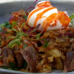 Simon Rimmer Duck Hash with Poached Eggs recipe on Sunday Brunch