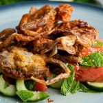Simon Rimmer Soft Shell Crab with Pickled Watermelon and Cucumber recipe on Sunday Brunch