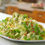 Jamie Oliver double corn salad with pop corn and yoghurt recipe on Jamie's Meat-Free Meals