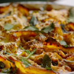 Jamie's scruffy aubergine lasagne with sage and almonds recipe on Meat-free Meals
