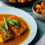 Asma Khan Bengali Fish Curry with Aloo Dum recipe on Sunday Brunch