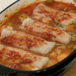 Priya Tew no chop tray bake with frozen hake and harissa paste recipe on Eat Well for Less?