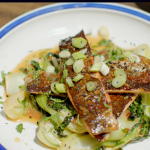 Hairy Bikers soy glazed and honey trout with bok choi and black sesame seeds recipe on Route 66