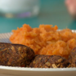 Fearne Cotton Vegan Black Bean Sausages with Mixed Root Mash recipe on Sunday Brunch