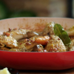 Lisa Faulkner Coq Au Blanc with Chicken Thighs and White Wine recipe on John and Lisa's Weekend Kitchen