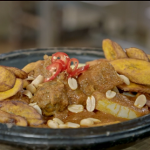 Zoe Adjonyoh Ghanaian peanut butter stew with lamb and chale sauce recipe on Nadia's Family Feasts