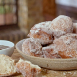 Nadia Sawalha puff puff doughnuts with chocolate dipping sauce recipe on Nadia's Family Feasts