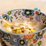 Lisa Faulkner spiced coconut rice pudding with mango salsa recipe on John and Lisa's Weekend Kitchen