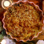 Jamie Oliver glorious cauliflower cheese with broccoli green sauce recipe on Jamie's Easy Christmas Countdown
