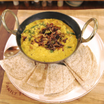 Nadia Sawalha tarka dhal with roast delica pumpkin, spinach and chapatis recipe on Nadia's Family Feasts
