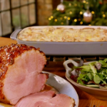 Alex Hollywood ginger beer gammon with tartiflette recipe on Nadia's Family Feasts