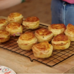 Lisa Faulkner Christmas ham and cheese with mustard pies recipe on John and Lisa's Weekend Kitchen