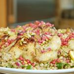 Nadia Sawalha roast Poussin with couscous and quinoa salad recipe on Nadia's Family Feasts