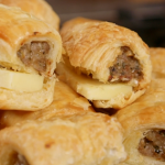 Nadia Sawalha hot sausage rolls with herbs and cold Cheddar cheese on Nadia's Family Feasts