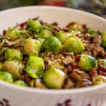 Lisa Faulkner Brussels Sprouts with Pancetta, Onions and Chestnuts recipe on John and Lisa's Weekend Kitchen