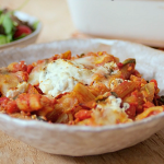 Tom Kerridge low calorie vegetarian spinach and ricotta pasta bake recipe on Lose Weight and Get Fit with Tom Kerridge