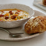 Tom Kerridge smoked pancetta and lentil soup with soda bread recipe on Lose Weight and Get Fit with Tom Kerridge