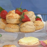 Juliet Sears scones with jam and clotted cream recipe for Mother's Day afternoon tea on This Morning