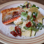 Jose Pizarro Grilled Sea Trout with Courgettes and Manchago Salad recipe on Sunday Brunch