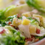 Lisa Faulkner chicken Caesar salad with bacon, cheat's dressing and croutons recipe on John and Lisa's Weekend Kitchen