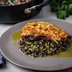 Simon Rimmer Pork Chops with Goat's Cheese and a Warm Lentil Salad recipe on Sunday Brunch