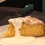 James Martin peach crumble cake with honey and cream recipe on This Morning