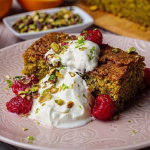 Simon Rimmer Pistachio Cake with Elderflower and Raspberries recipe on Sunday Brunch