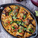 Yotam Ottolenghi Stuffed rolled Aubergine in Curry and Coconut Dhal recipe on Sunday Brunch