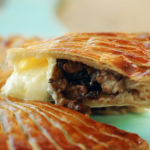 Nadiya Hussain pink pepper pithivier with spiced chicken and melted brie recipe on Nadiya Bakes