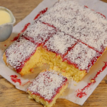 Ainsley Harriott jam and coconut sponge with custard recipe on Ainsley's Food We Love