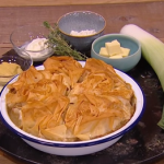 Ruby Bhogal chicken, leek and wild mushroom pie recipe on Steph's Packed Lunch