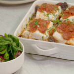 Ainsley Harriott chorizo crusted hake on boulangere potatoes with salad recipe on Ainsley's Food We Love