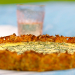 Nadiya Hussain creamy potato rosti quiche with cheese and chives recipe on Nadiya Bakes
