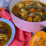 Alison Hammond Caribbean Saturday soup with beef shin, cho cho, Scotch bonnet pepper, pumpkin and dumplings recipe on This Morning