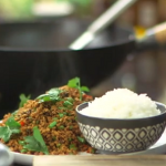 Ching He Huang veggie mince with French beans, rehydrated soy and Jasmine rice stir fry recipe on Lorraine