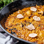 Omar Allibhoy autumnal paella with wild mushrooms Jerusalem artichokes and chestnuts recipe on Sunday Brunch