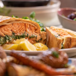John Torode salmon en croute with peas, beetroot and a fresh horseradish sauce recipe on John and Lisa's Weekend Kitchen