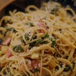Nigella Lawson spaghetti with garlic, rainbow chard, anchovies and parmigiano recipe on Nigella's Cook, Eat, Repeat