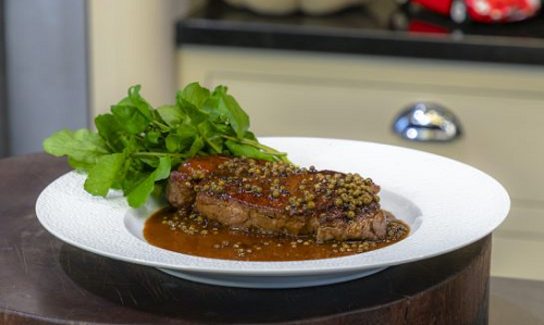 James Martin classic steak with peppercorn sauce and ...