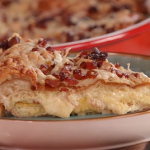 John Torode and Lisa Faulkner cheesy croissant bake recipe on John and Lisa's Weekend Kitchen