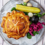 Simon Rimmer cheese and potato pie with pickled vegetables recipe on Sunday Brunch