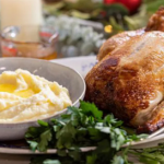 John Torode roast chicken with cranberry stuffing and 'naughty' mash recipe on John and Lisa's Weekend Kitchen