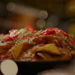 Nigella Lawson paprika and cheese crab sauce with tortilla chips, red chillies and chives on Nigella's Cook, Eat, Repeat