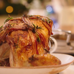 Mary Berry turkey crown with bacon lattice recipe on Mary Berry Saves Christmas